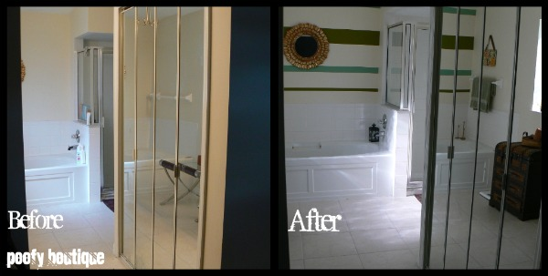 Before and After - Stripes in the Bathroom